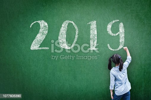 istock 2019 class new calendar year greeting by student kid's hand drawing on school teacher's chalkboard for academic year greeting, educational celebration, classroom schedule concept 1077605390