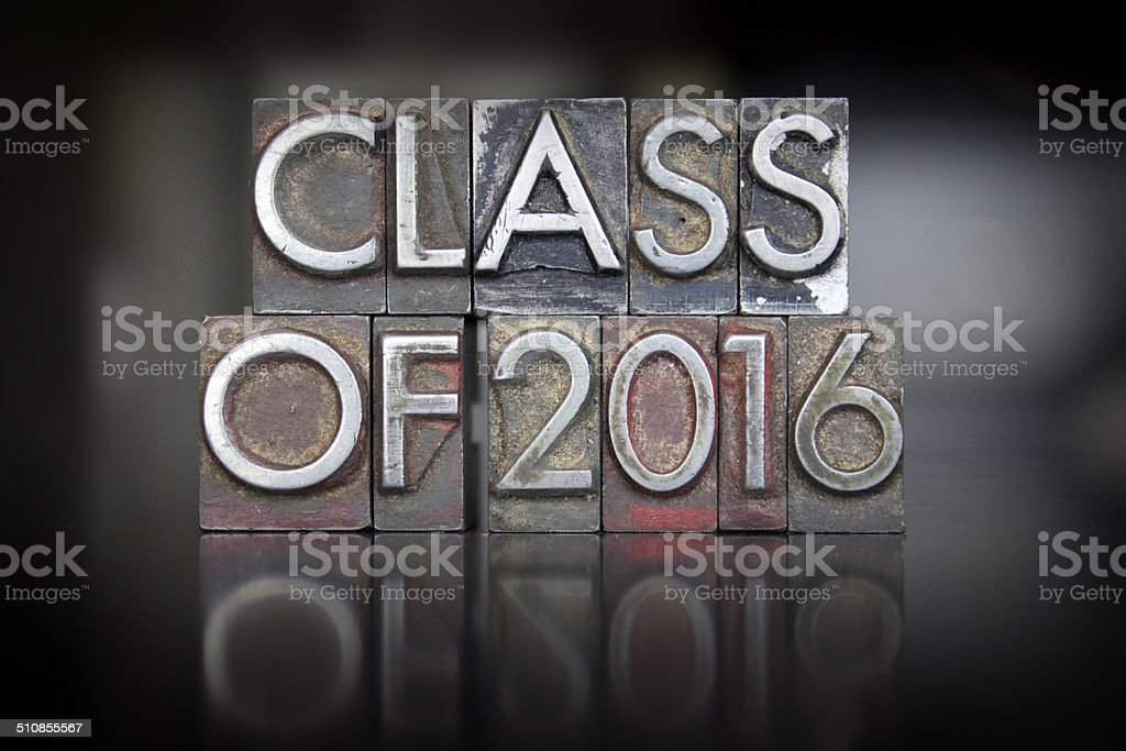 Class of 2016 Letterpress stock photo
