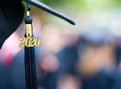 Closeup of a 2020 Graduation Tassel at a graduation ceremony.