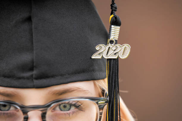 Class of 2020 Tassel and Cap Close Up on Girl stock photo