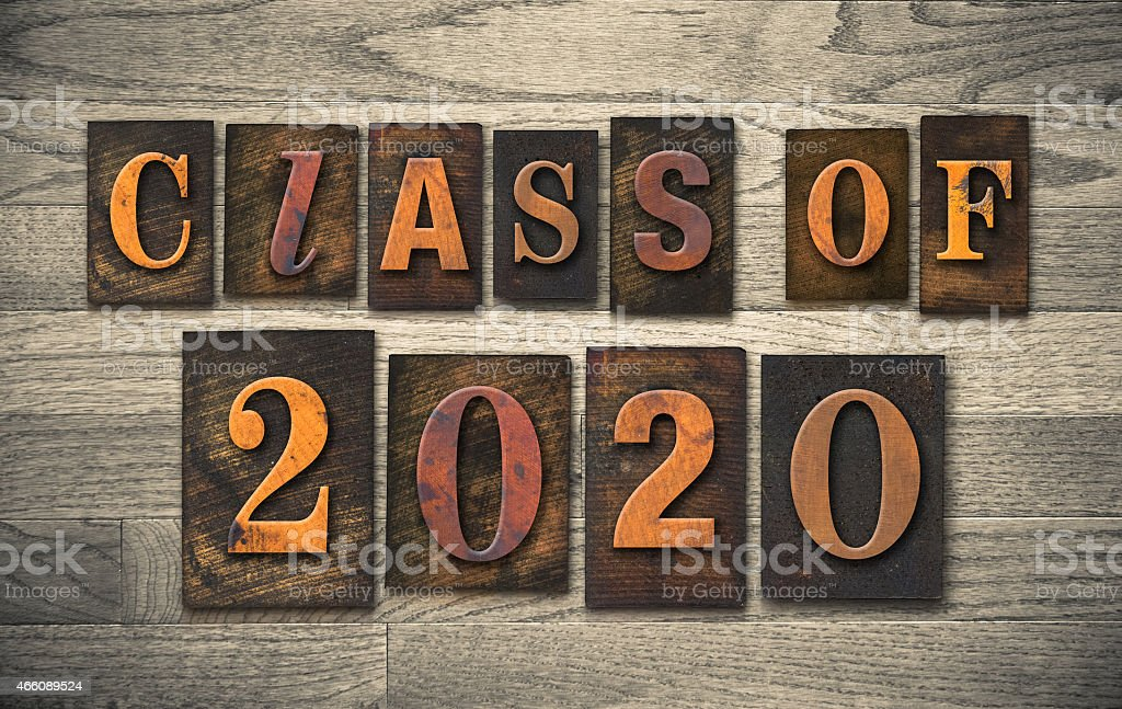 Class of 2020 Wooden Letterpress Type Concept stock photo