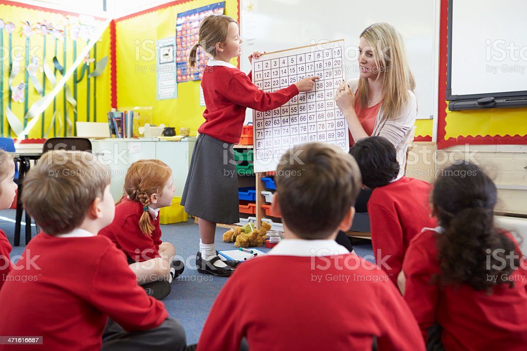 Class of children in red uniforms learning mathematics royalty-free stock photo