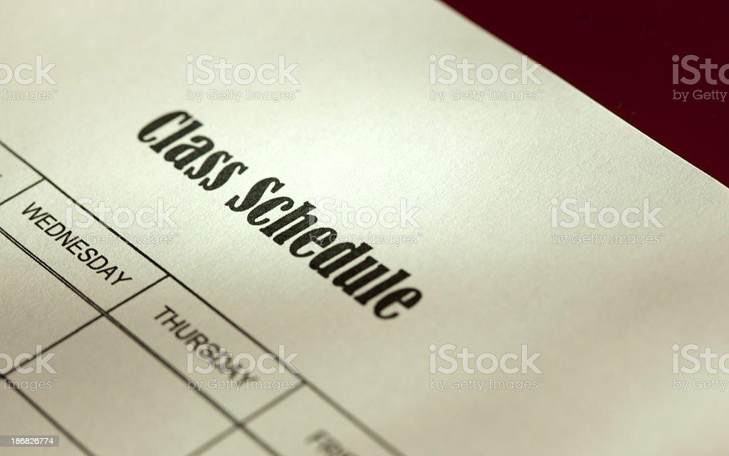 Class Schedule stock photo