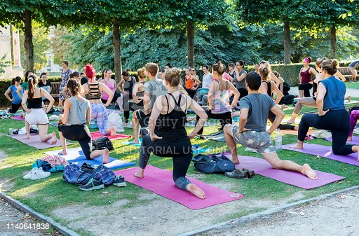 The photo was taken in the Louvre Park, Paris, France, August 2018. A yoga teacher deals with a group of people for free.