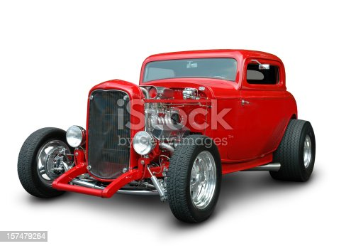 A 1932 Classic Ford Hot Rod in red by special request. Clipping Path on vehicle excludes ground shadow.