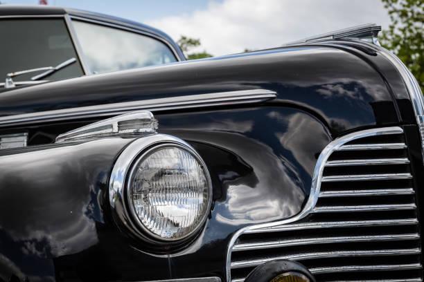 Classic 1940 Vintage Black Car stock photo