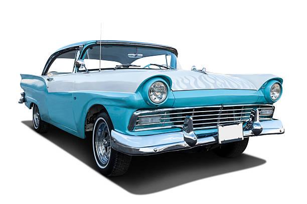 klassische 1957 ford fairlane blue - alten muscle cars stock-fotos und bilder