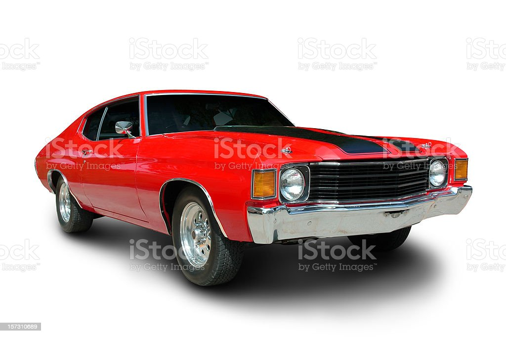Classic 1971 Chevelle Muscle Car A classic 1971 Chevelle.  Vehicle has clipping path, excluding shadow.   1960-1969 Stock Photo