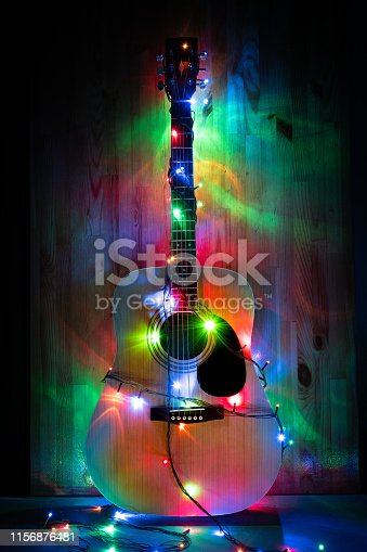 Classic Acoustic Guitar in christmas lights