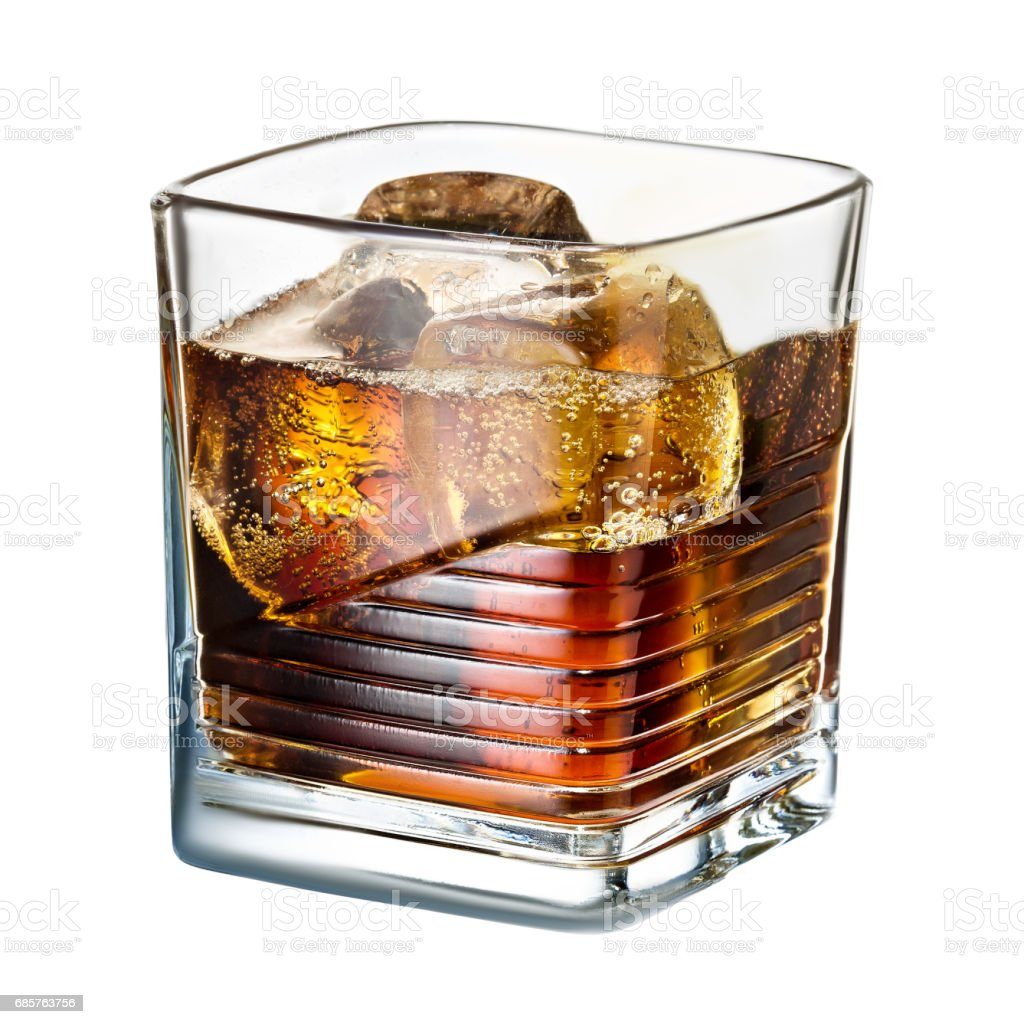 classic alcohol cocktail whiskey cola with ice on white background zbiór zdjęć royalty-free
