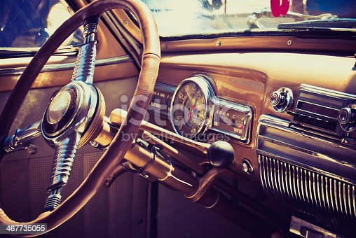 istock A classic American 60's inside of a car 467735055