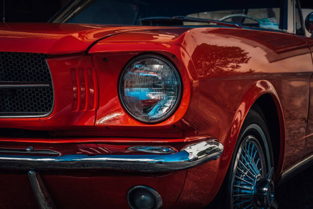 classic american car from the sixties in bright red color - classic cars stock photos and pictures