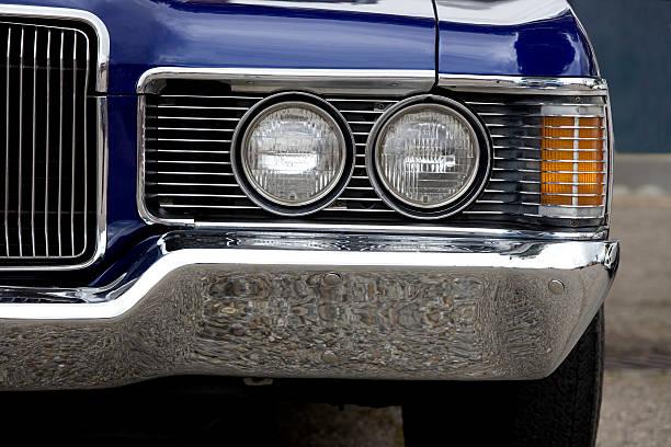 Classic American Car Headlight stock photo