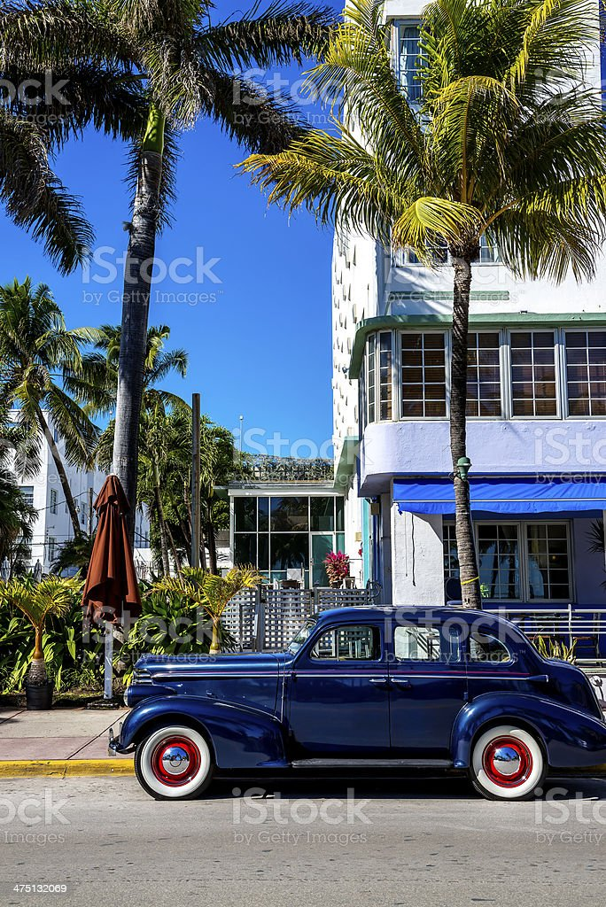 Classic American Car on South Beach, Miami. stock photo