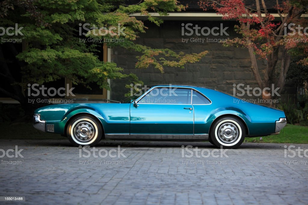 Classic american car parked stock photo