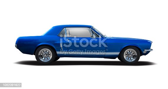 Blue classic American car side view isolated on white