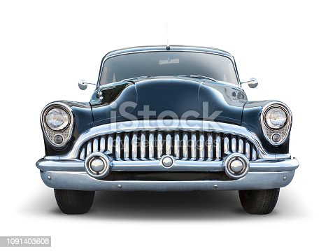 Black classic american car front view isolated on white backround