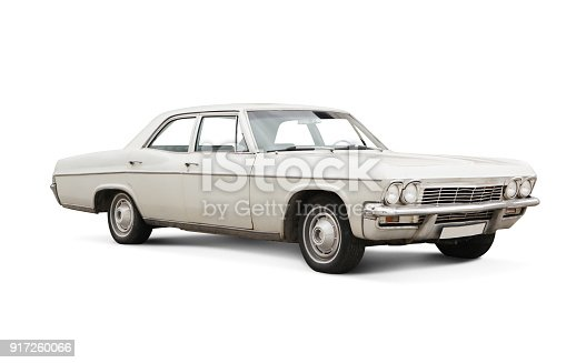 Classic American Car isolated on white.