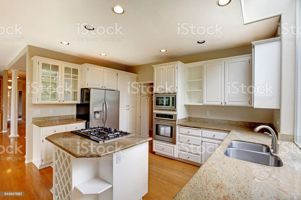Classic American Kitchen Interior With White Cabinets Royalty Free Stock  Photo