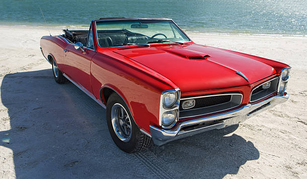 Classic American Muscle Car Classic car restored GTO with all insignia's removed. Convertible American car from the 1960's.Please Also See: sports car stock pictures, royalty-free photos & images