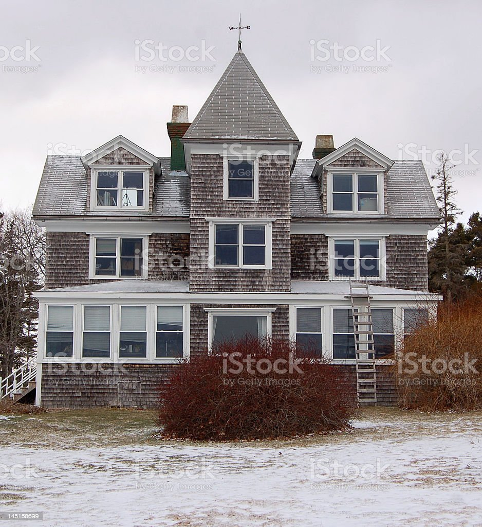 Classic American Shingle Beach Cottage royalty-free stock photo