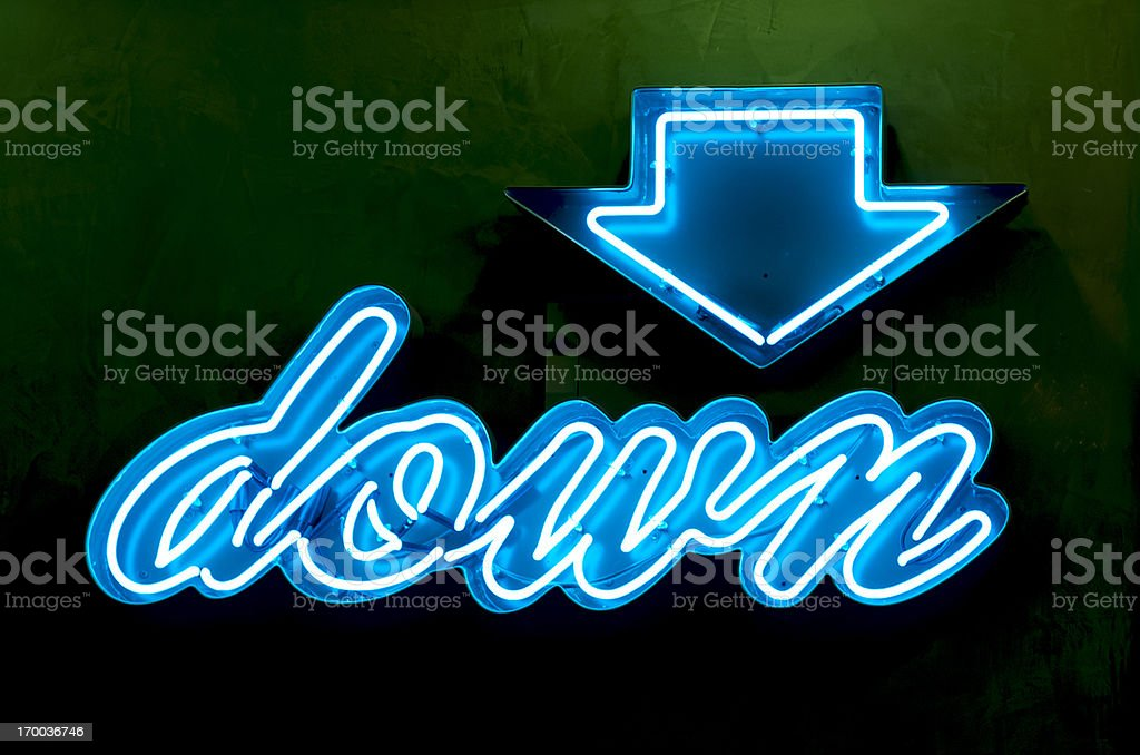 Classic Americana Neon Blue Down Sign and Arrow stock photo