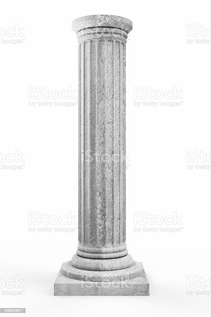 Classic Ancient Column isolated on white background stock photo