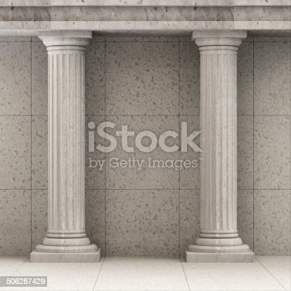 istock Classic Ancient Interior with Columns 506287429