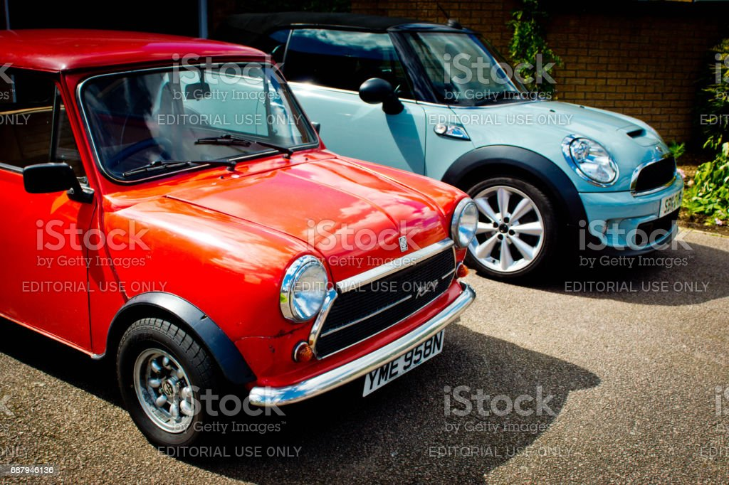 Classic and BMW mini Coopers stock photo