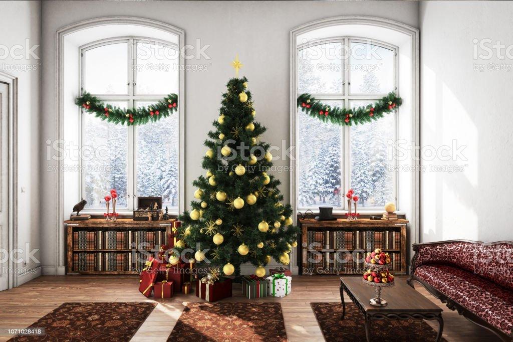 Klassisch Und Stilvoll Weihnachten Wohnzimmer Stockfoto und mehr Bilder von  Altertümlich