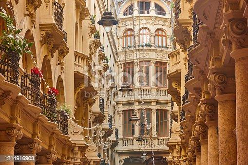 istock Classic antique buildings facades passageway in Albacete. Spain 1214916903