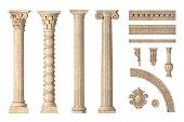 istock Classic antique marble columns set 1301800814