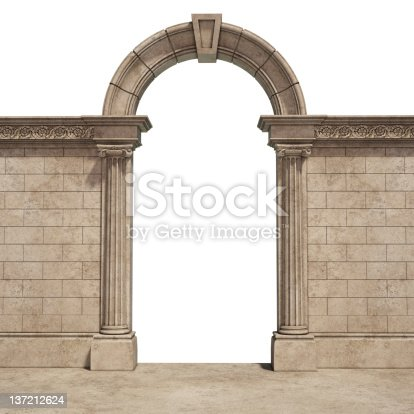 3d render of classic arch. part of built structure. entrance.