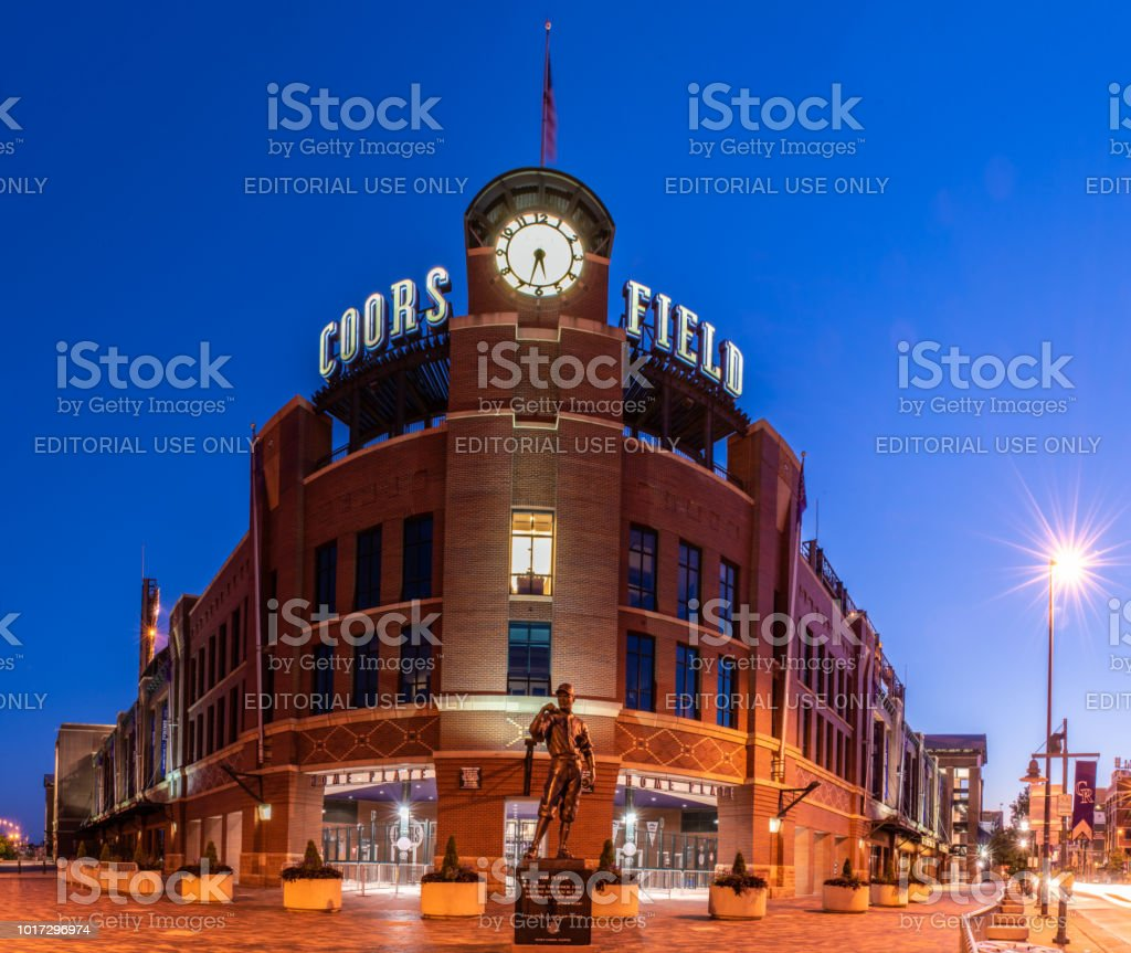 Classic architecture of a modern baseball stadium. stock photo
