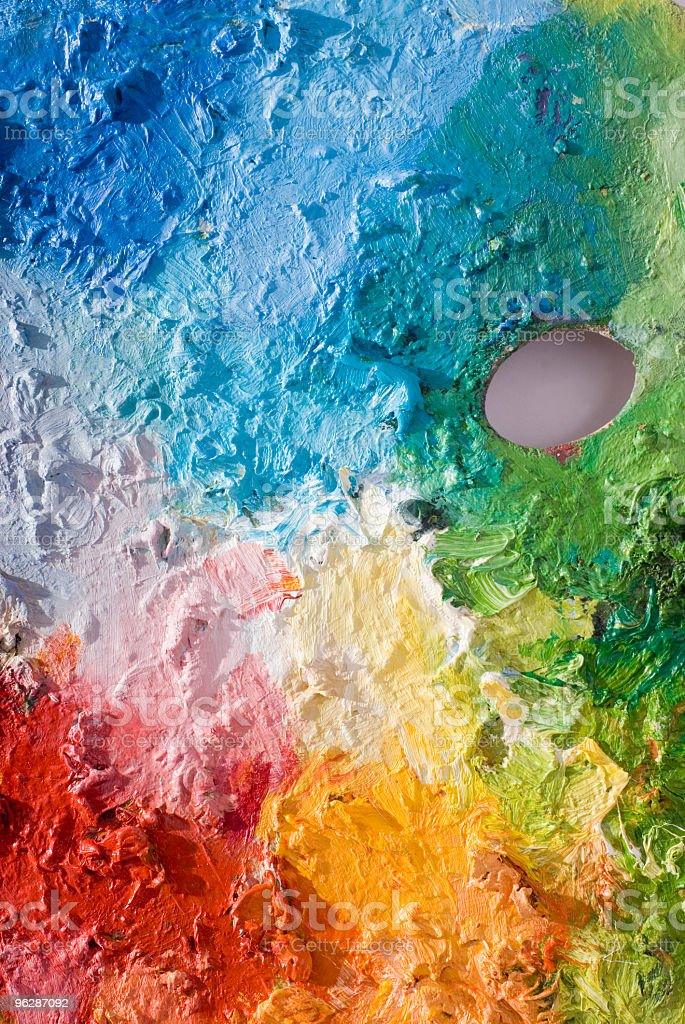 Classic art palette with primary colors stock photo