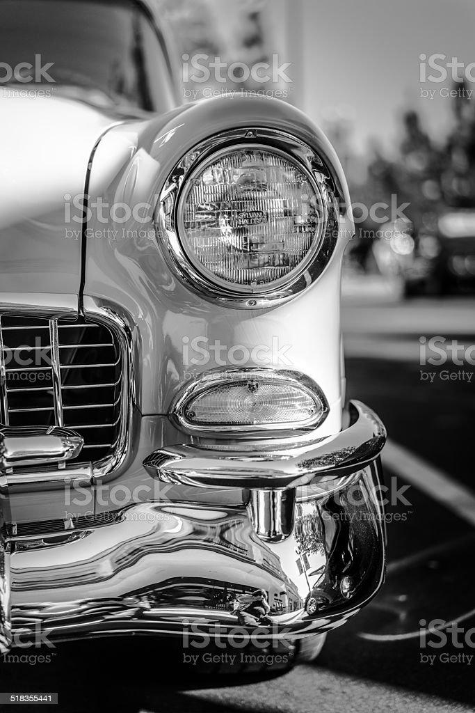 Classic Automobile headlight B&W stock photo