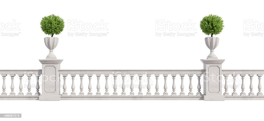 Classic balustrade isolated on white stock photo