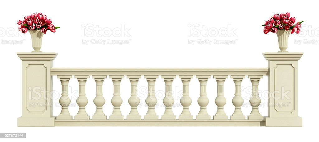 Classic balustrade isolated on white stock photo