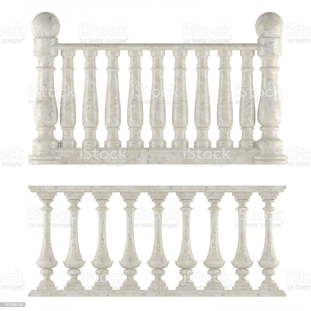 Classic balustrade isolated stock photo