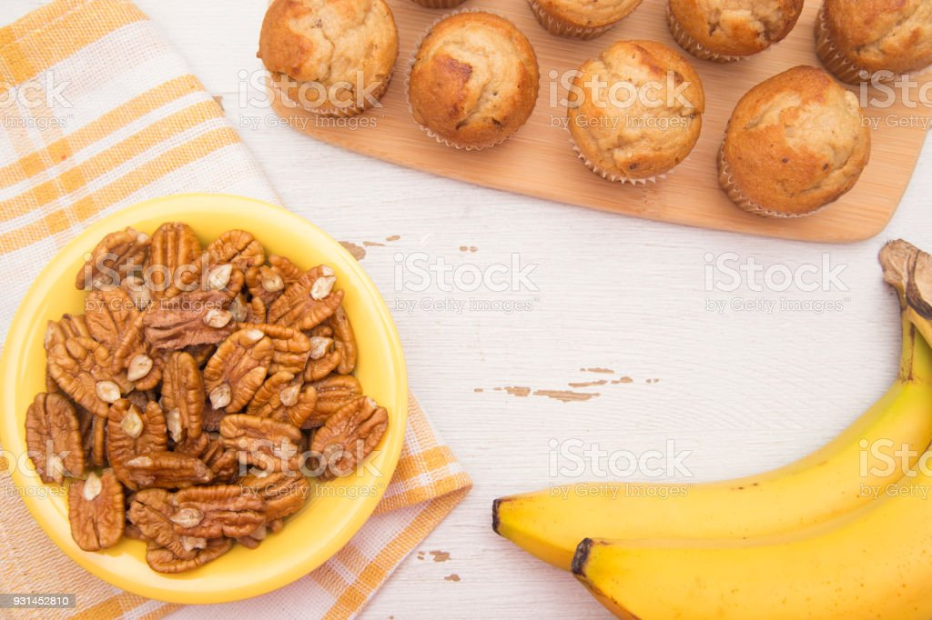 Classic Banana Nut Muffins with Space to Add a Title or Recipe stock photo