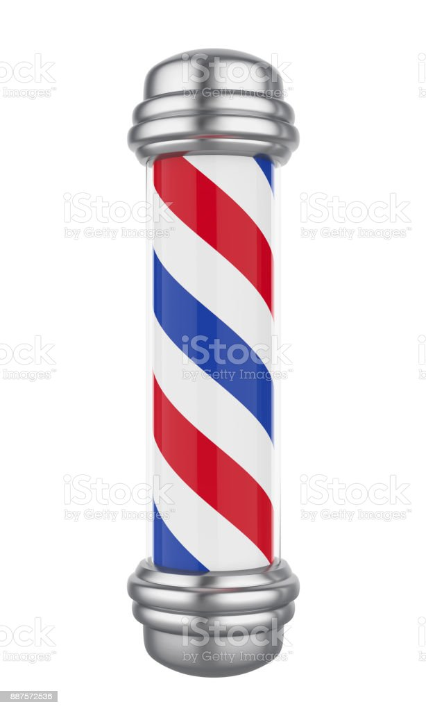 Classic Barber Shop Pole Isolated - fotografia de stock