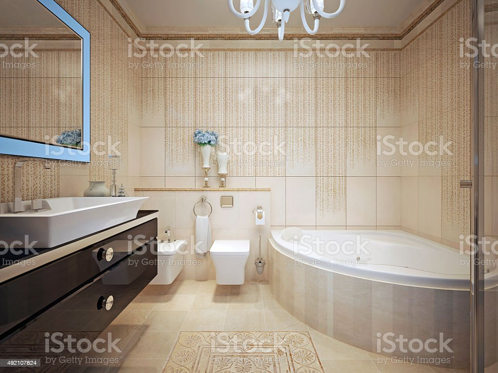 Classic bathroom interior stock photo
