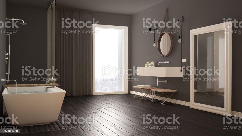 Klassisches Badezimmer Modernes Minimalistisches Design Stockfoto und mehr  Bilder von Badewanne