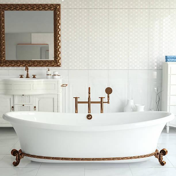 klassisches badezimmer - wandspiegel weiß stock-fotos und bilder