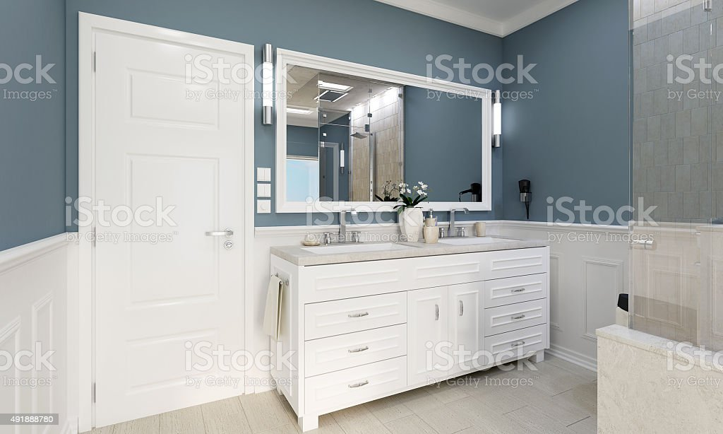 Classic bathroom with wash stock photo
