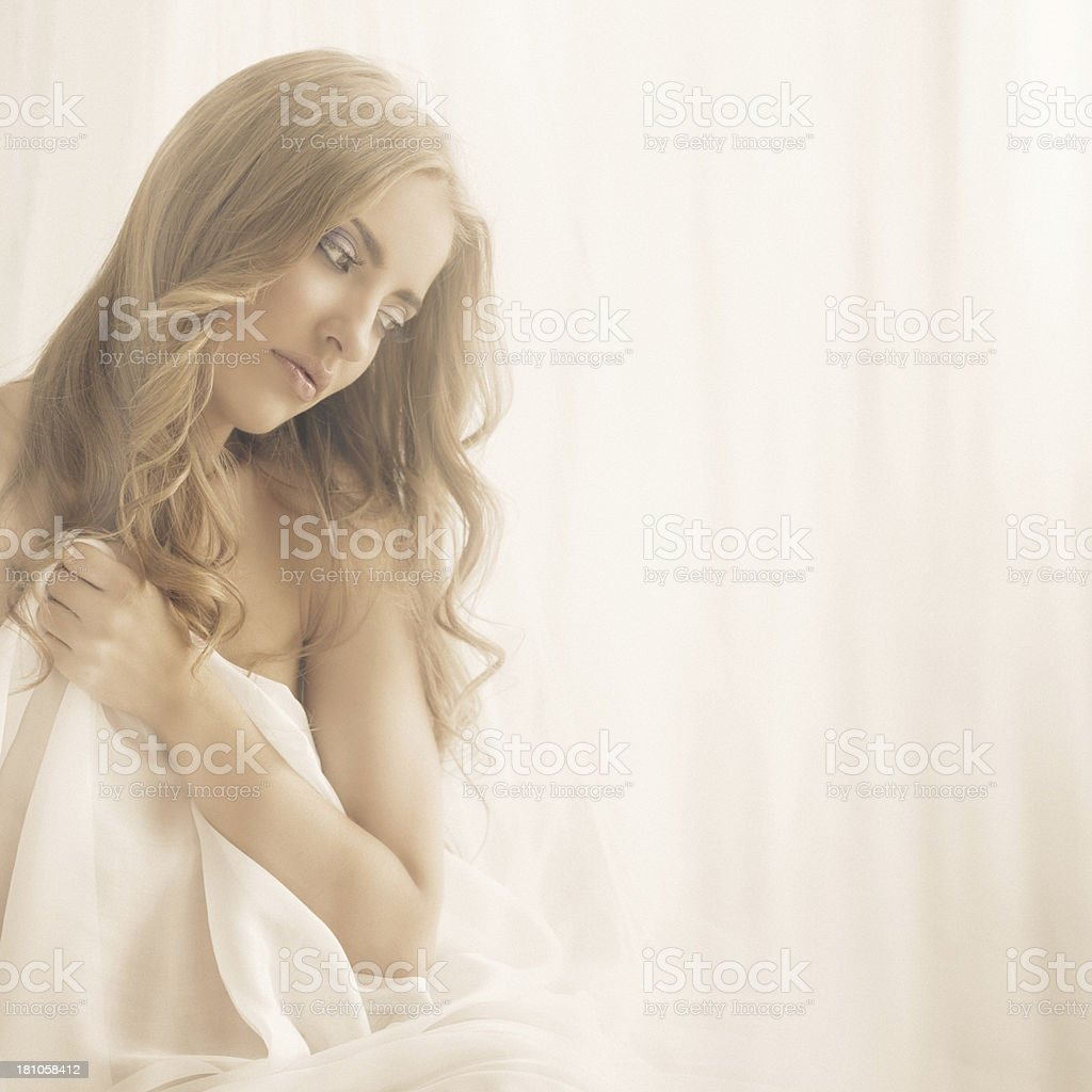 classic beauty posing with white silk royalty-free stock photo