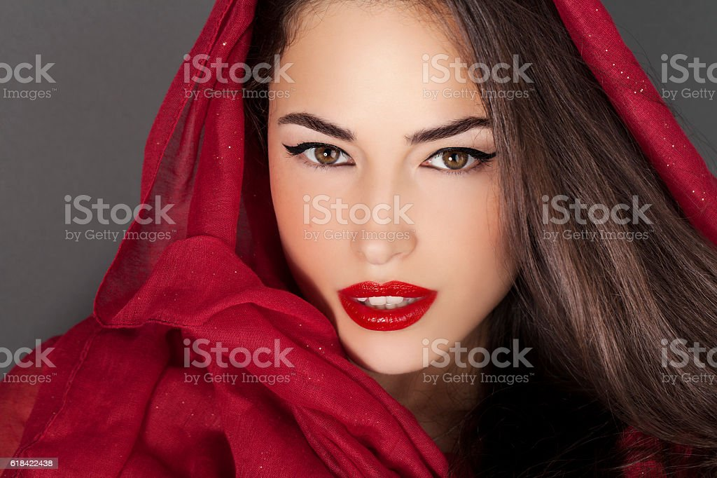 classic beauty with red lips and scraf stock photo