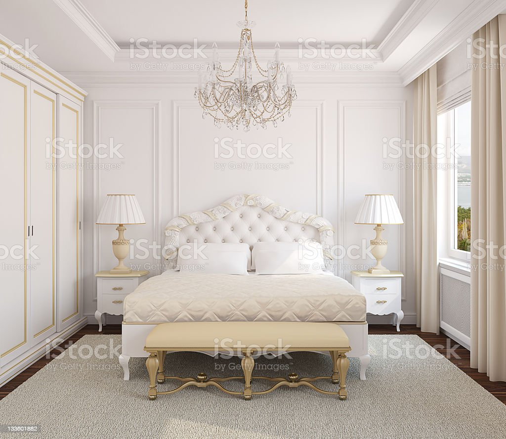 Classic bedroom interior. stock photo