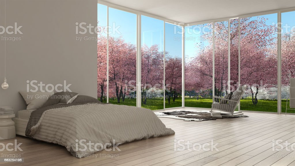 Classic bedroom, minimalist white interior design, big panoramic windows, spring garden royalty-free 스톡 사진