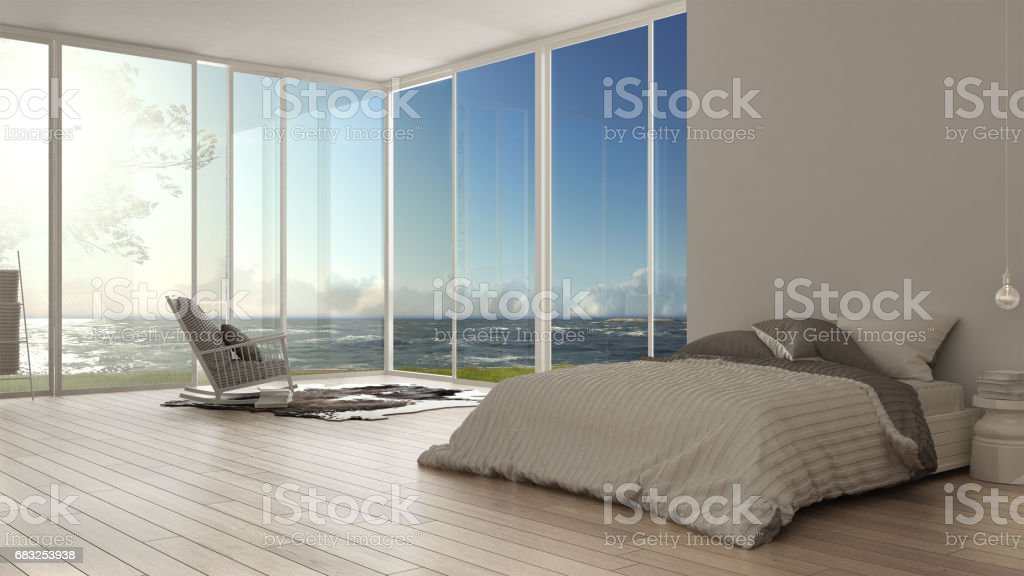 Classic bedroom, minimalist white interior design, big windows with panorama on rough sea ocean and olives trees, hotel, spa, resort 免版稅 stock photo